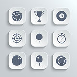 Sport icons set - vector white app buttons