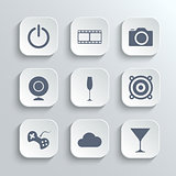 Multimedia icons set - vector white app buttons