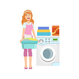 Hotel Professional Maid Doing Laundry Illustration