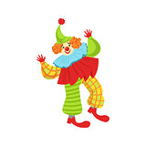Colorful Friendly Clown In Ruffle To Classic Outfit