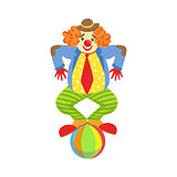 Colorful Friendly Clown Balancing On Ball In Classic Outfit