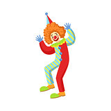Colorful Friendly Clown Performing In Classic Outfit