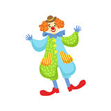 Colorful Friendly Clown In Bowler Hat In Classic Outfit
