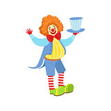 Colorful Friendly Clown Holding Top Hat In Classic Outfit