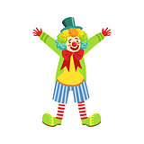 Colorful Friendly Clown With Multicolor Wig In Classic Outfit