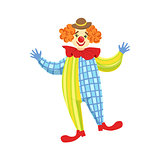 Colorful Friendly Clown In Derby Hat And Classic Outfit