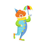 Colorful Friendly Clown With Mini Umbrella In Classic Outfit