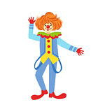 Colorful Friendly Clown With Suspenders In Classic Outfit