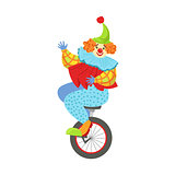 Colorful Friendly Clown Balancing On Unicycle In Classic Outfit