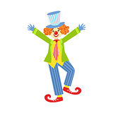 Colorful Friendly Clown With Curled Shoes In Classic Outfit