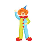 Colorful Friendly Clown In Party Hat Classic Outfit