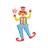 Colorful Friendly Clown With Lollypop In Classic Outfit