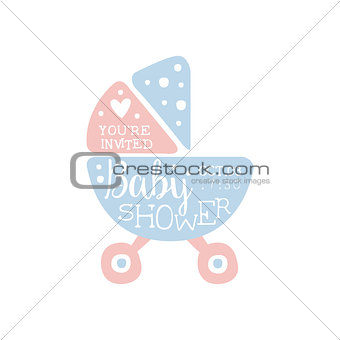 Baby Shower Invitation Design Template With Stroller
