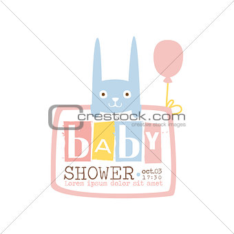 Baby Shower Invitation Design Template With Rabbit