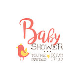 Baby Shower Invitation Design Template With Bird