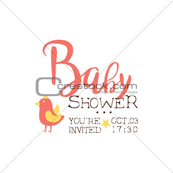 Baby Shower Invitation Design Template With Bird