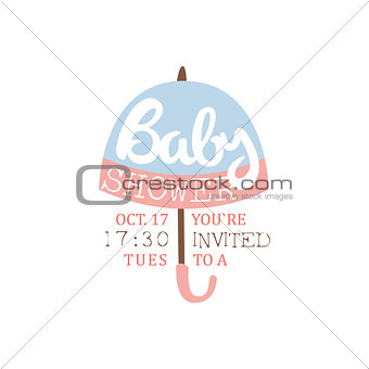 Baby Shower Invitation Design Template With Umbrella Silhouette