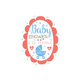 Round Frame Baby Shower Invitation Design Template