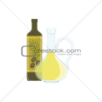 Olive Oil Baking Process And Kitchen Equipment Isolated Item