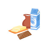 Milk, Chocolate And Butter Baking Process  Kitchen Equipment Isolated Item
