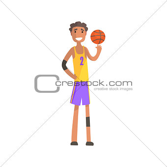Basketball Player Turning Ball On A Finger Action Sticker