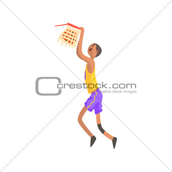 Basketball Player Hanging On Goal Action Sticker