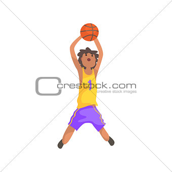Basketball Player Jumping And Throwing Action Sticker