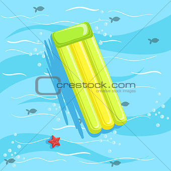 Green Inflatable Matrass With Blue Sea Water On Background