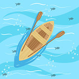 Wooden Boat With Blue Sea Water On Background