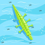 Inflatable Crocodile Toy With Blue Sea Water On Background