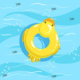 Toy Inflatable Duck Ring With Blue Sea Water On Background