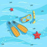 Snorkeling Equipment With Blue Sea Water On Background