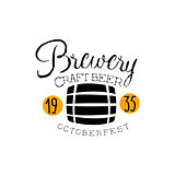Brewery Logo Design Template With Barrel