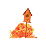 Bird House And Bush With Orange Leaves As Autumn Attribute