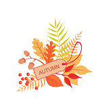 Set Of Orange Leaves With The Tag As Autumn Attribute