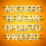 Glowing Neon Honey Yellow Alphabet