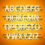 Glowing Neon Honey Yellow Alphabet