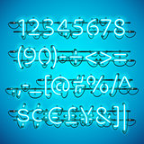 Glowing Neon Azure Blue Numbers