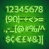 Glowing Neon Lime Green Numbers