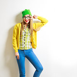 Funny Fashion Hipster Girl Smiling and Going Crazy