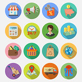 Internet Shopping and Delivery Flat Icon Set