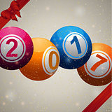 Twenty Seventeen bingo lottery ball background with ribbons and