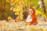 Cute baby boy dressed in fox costume in park