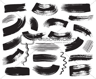 Black grunge vector art brush strokes