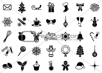 Black vector christmas silhouette icons