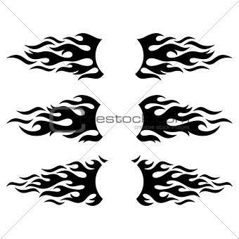 Black vector flame design elements