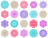 Colorful geometric round abstract mandala collection