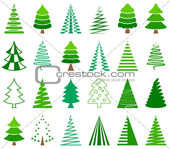 Green vector abstract christmas tree icons