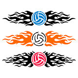 Volleyball ball flaming vector logo templates