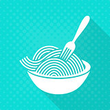 White vector spaghetti flat icon